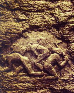 煤壁浮雕·古代采煤、用煤